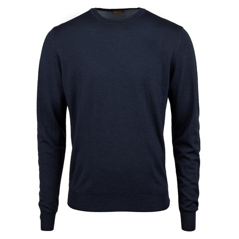 Navy Garment Dyed Merino Crew Neck