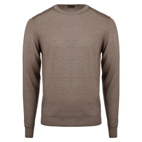 Brown Garment Dyed Merino Crew Neck