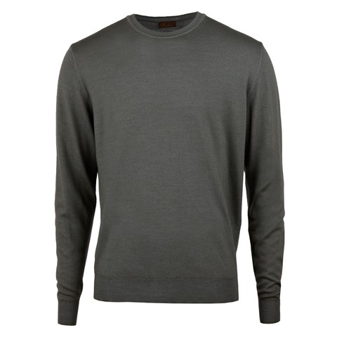 Green Garment Dyed Merino Crew Neck