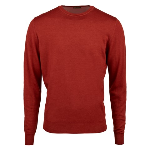 Rust Garment Dyed Merino Crew Neck