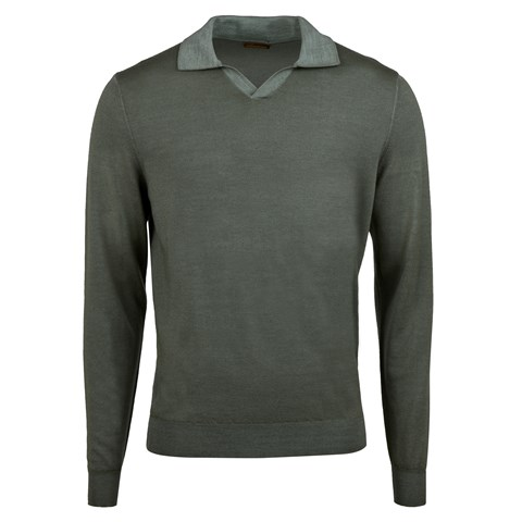 Green Garment Dyed Merino Polo Shirt