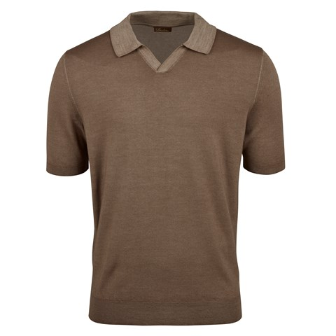 Brown Garment Dyed Merino Polo Shirt
