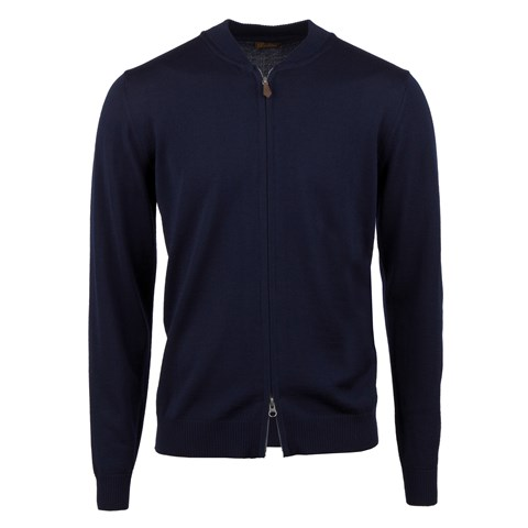 Navy Merino Baseball Zip Cardigan