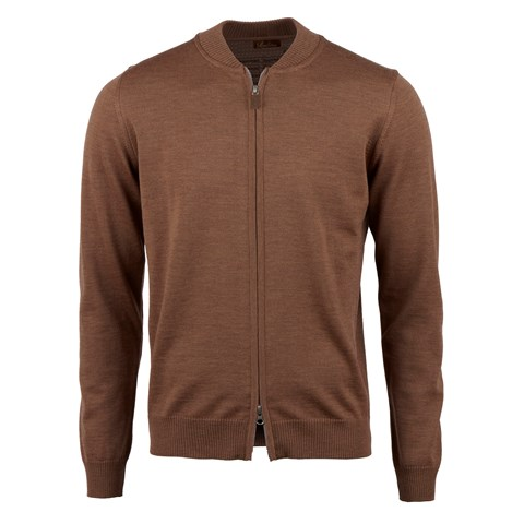 Brown Merino Baseball Zip Cardigan