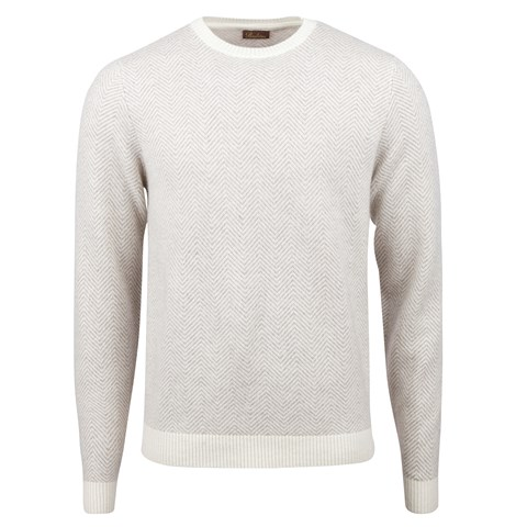 Off-White Herringbone Cashmere Crew Neck
