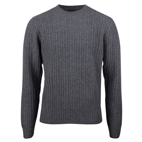 Grey Lambswool Cable Crew Neck