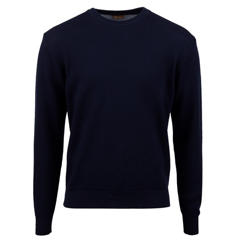 Navy Merino Textured Crew Neck