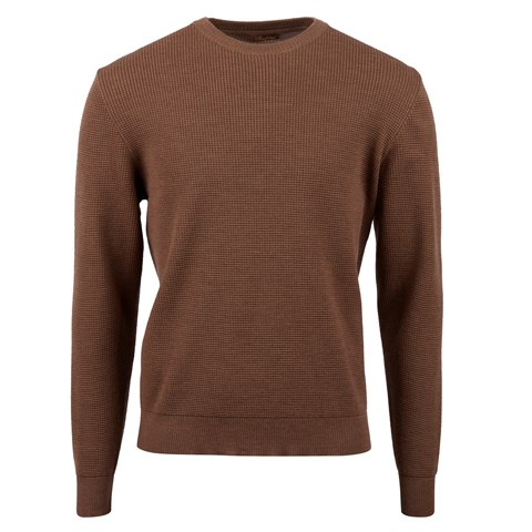 Brown Merino Textured Crew Neck