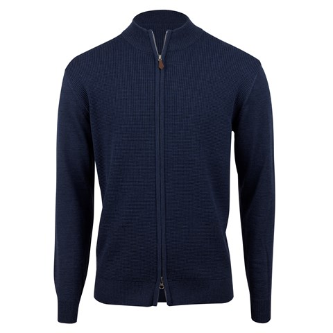 Blue Merino Textured Zip Cardigan