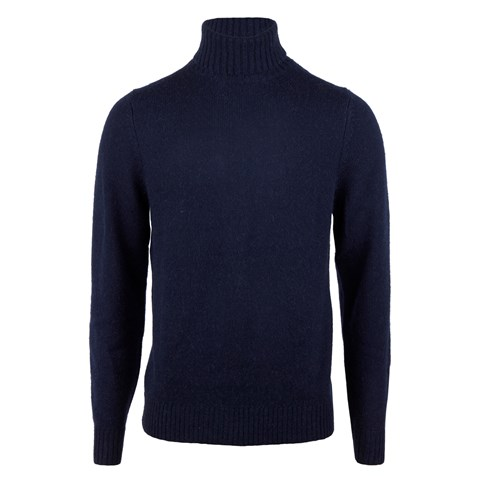 Navy Merino Camel Roll Neck