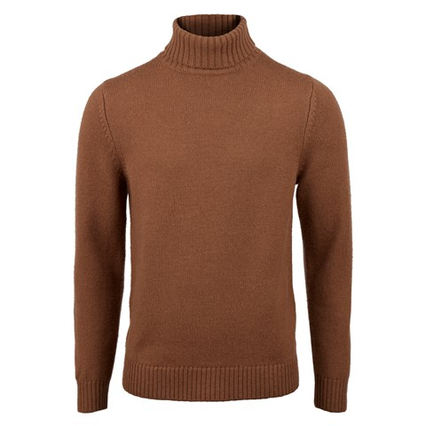 Brown Merino Camel Roll Neck