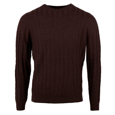 Brown Camel Merino Cable Crew Neck