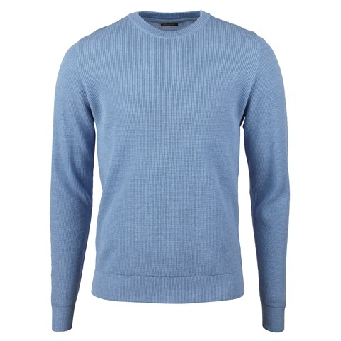 Light Blue Textured Merino Crew Neck