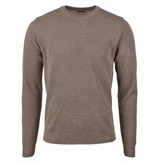 Mud Brown Textured Merino Crew Neck