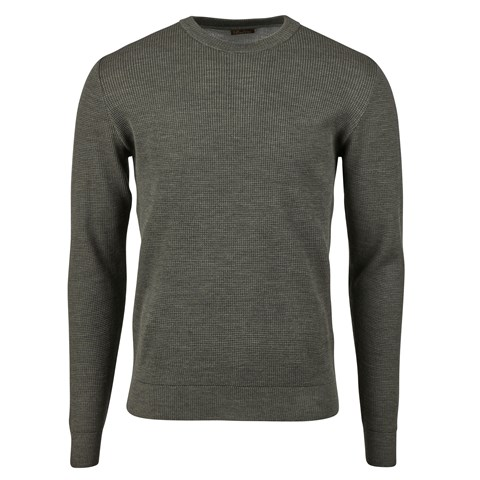 Forest Green Textured Merino Crew Neck