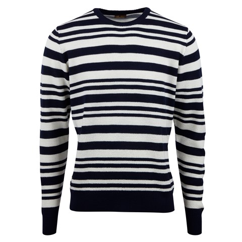Striped Textured Merino Crew Neck