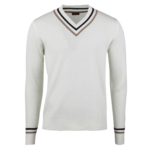 Off-White Textured Varsity Merino V-neck