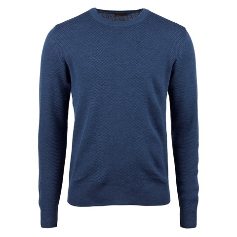 Blue Textured Merino Crew Neck