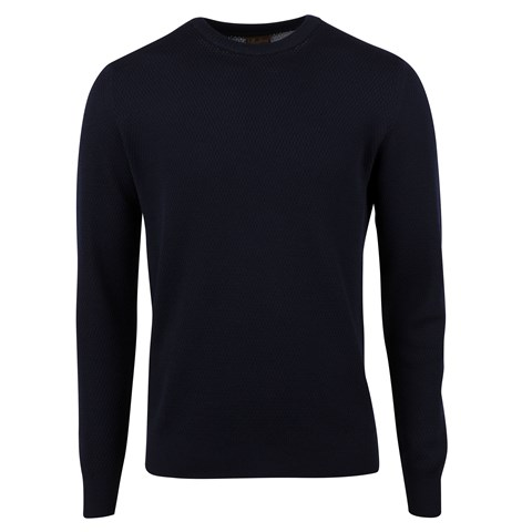 Navy Textured Merino Crew Neck