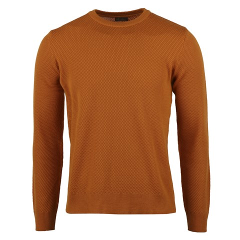 Orange Textured Merino Crew Neck