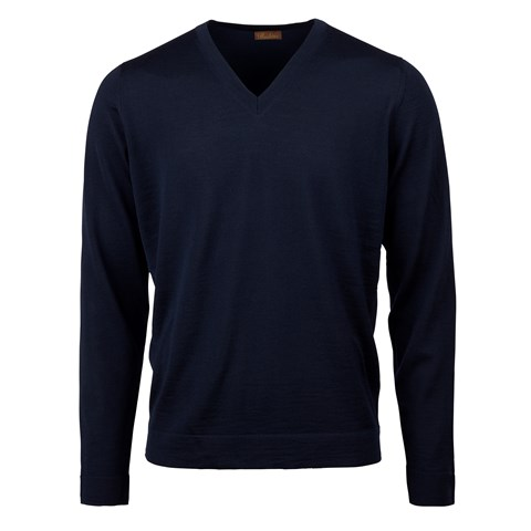 Navy Merino V-neck