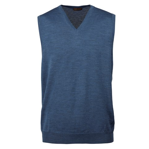Blue Merino V-neck Slipover