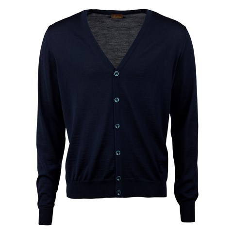 Navy Blue Merino Cardigan