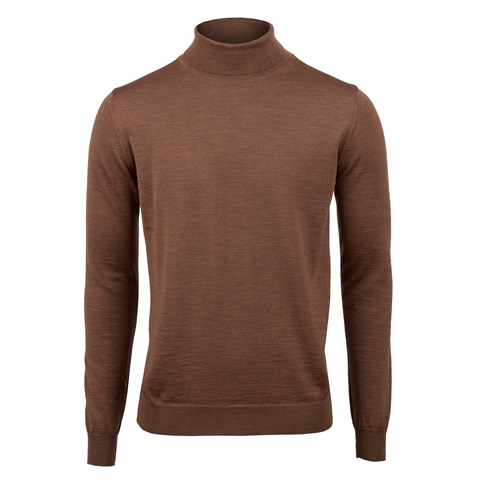 Brown Merino Roll Neck