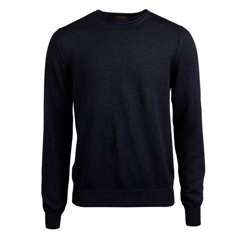 Navy Cotton Linen Crew Neck