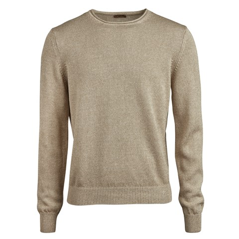Beige Cotton/Linen Crew Neck