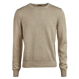 Beige Cotton Linen Crew Neck