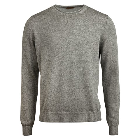 Grey Cotton Linen Crew Neck