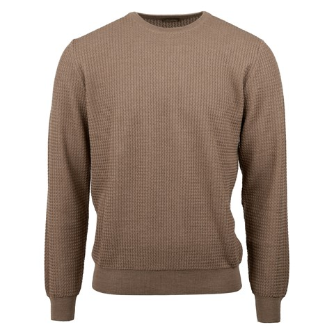 Camel Textured Knit Crew Neck