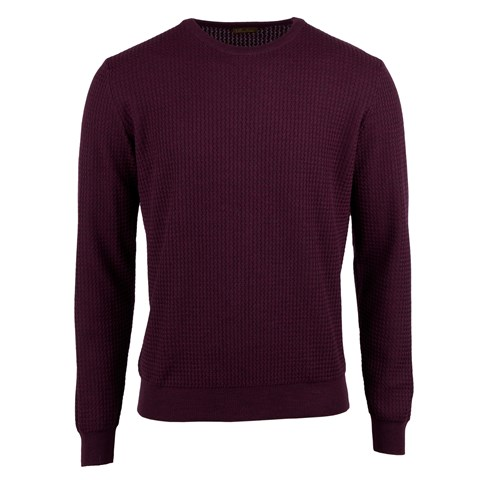 Plum Textured Merino Crew Neck