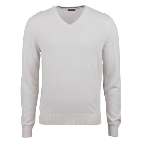 Off-White Cashmere V-Neck With Patches