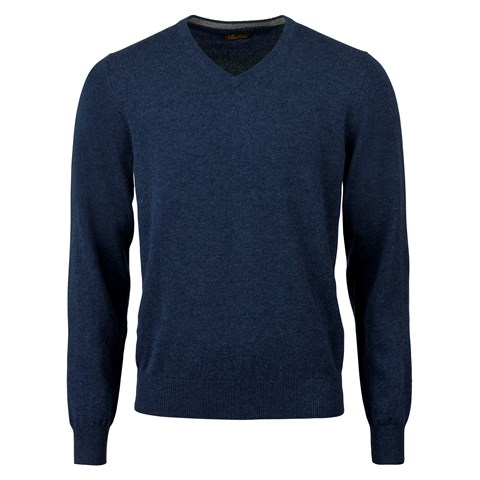 Blue Cashmere V-Neck With Patches