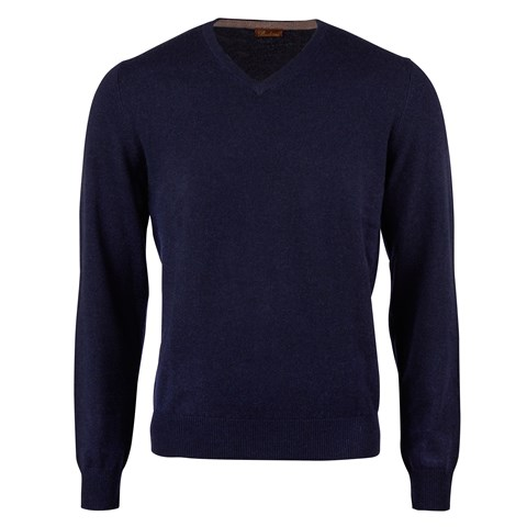 Navy Cashmere V-Neck With Patches