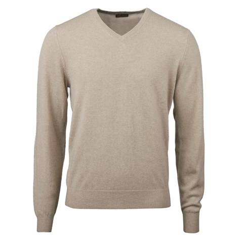 Sand Cashmere V-Neck With Patches