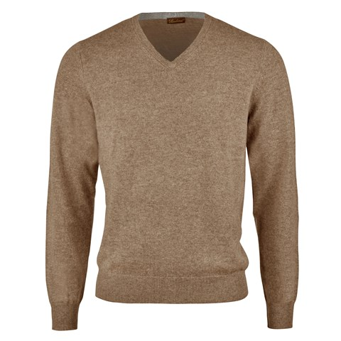 Camel Cashmere V-Neck With Patches