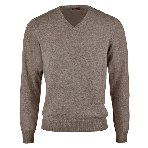 Mud Brown Cashmere V-Neck With Patches