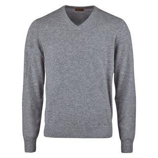 Grey Cashmere V-Neck With Patches