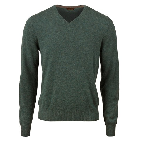 Green Cashmere V-Neck With Patches