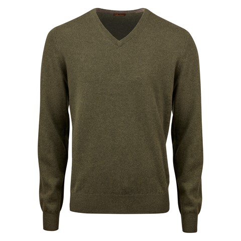 Forest Green Cashmere V-Neck With Patches