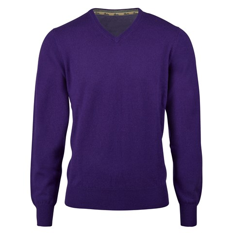 Purple Cashmere V-Neck With Patches