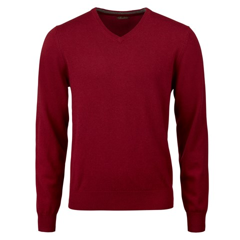 Red Cashmere V-Neck With Patches