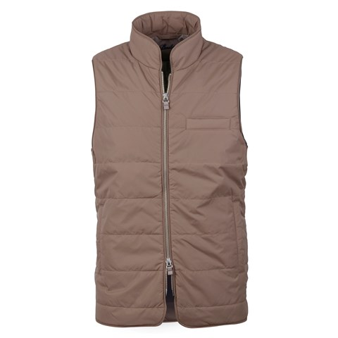 Brown Vest In Quilted Nylon