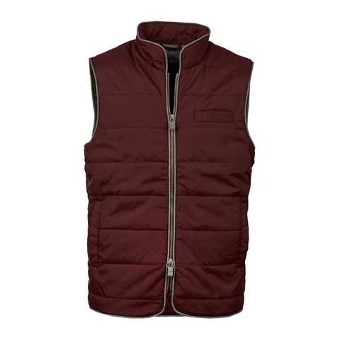 Burgundy Vest In Quilted Nylon