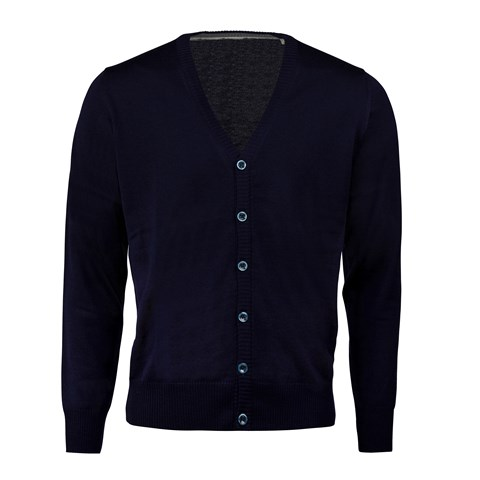 Navy Merino cardigan with patches