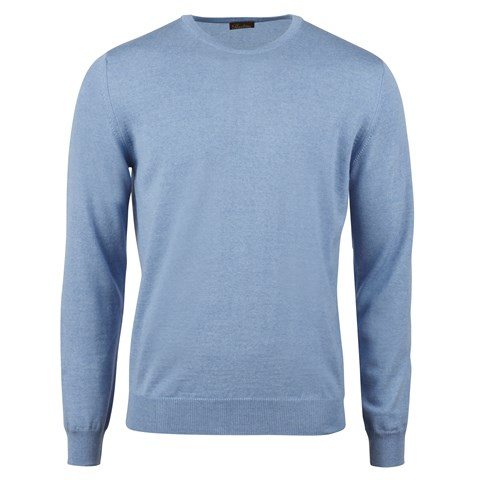 Blue Merino Crew W Patch
