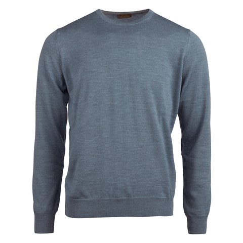 Light Blue Merino Crew Neck With Patches